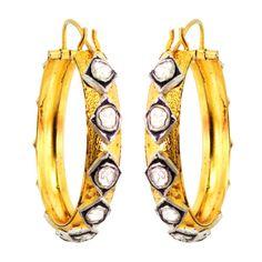 Rose Cut Diamond 14K Gold Hoop Earrings 925 Sterling Silver Hanmade Fine Jewelry #Handmade