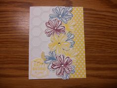 Used Stampin' Up Flower Shop, Label Love and Papillon Potpourri stamp sets, with Daffodil Delight, Marina Mist and Rich Razzleberry ink. Daffodil Delight DSP and the Honeycomb embossing folder. By Gayla Wilson...inspired by Brandy Cox. Go to brandyscards.com