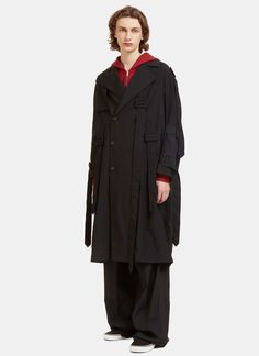 YANG LI Men'S Oversized Belted Trench Coat In Black. #yangli #cloth #