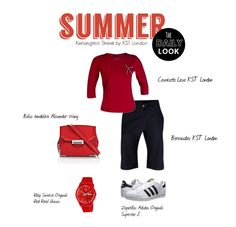 Summer by KST London  Look casual compuesto por camiseta y bermudas KST London. Nuestra propuesta: Completalo con unas zapatillas,  y accesorios en color rojo. Hazte con él en www.kstlondon.com  #moda #fashion #summer #britishfashion #woman #red #casual