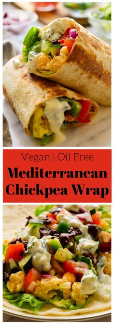 These vegan Mediterranean wraps feature smashed chickpeas, colourful veggies and a tangy herby tzatziki sauce. These fast and easy vegan wraps can be made ahead for a packed lunch or quick snack when you're on the go. via Melissa Copeland Vegan Lunches, Vegan Foods, Vegan Dishes, Easy Vegan Lunch, Easy Vegan Food, Easy Vegan Meals, Healthy Lunch Wraps, Raw Food, Veggie Recipes