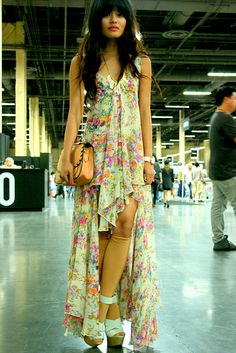 Asymmetric Floral Maxi dress paired with wedges.