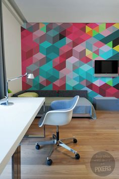 Wall Mural Geometric Jacket - inspiration wall mural, interiors gallery• PIXERSIZE.com