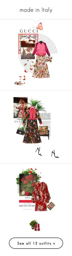 """""""made in Italy"""" by theitalianglam ❤ liked on Polyvore featuring Gucci, gucci, TradeMark, Improvements, Sergio Rossi, Dolce&Gabbana, oversizedflorals, Kershaw, Valentino and Konstantino"""