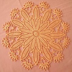 READY TO SHIP worldwide Sunny peach crochet doily by VerLenCrochet