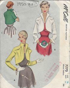1950 Vintage Sewing Pattern B36 BOLERO JACKET (R897)