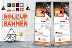 Gym & Fitness Roll Up Banner by Imagine Design Studio Texture Vector, Vector Shapes, Corporate Design, Flyer Design, Types Of Gym, Standing Banner Design, Rollup Banner, Restaurant Flyer, Bi Fold Brochure