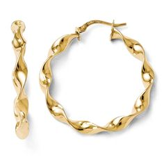 Italian 14k Gold Polished Twisted Hoop Earrings Women's