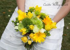 a free-flowing green and yellow bouquet