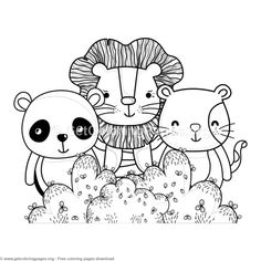 Panda Lion And Cat Forest Animals Coloring Pages Free Instant Download Coloringbook