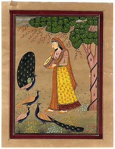 #Antique #indian #minature painting-musician-peacock-sitar-anonymous-ca. 1920,  View more on the LINK: http://www.zeppy.io/product/gb/2/371448294240/