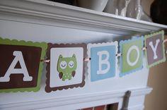 Owl It's A Boy Banner, Owl Baby Shower Banner, Owl Theme, Owl Banner. $14.00, via Etsy.