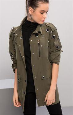 1743 KUŞGÖZLÜ CEKET Khaki Green, Military Jacket, Fashion Outfits, Jackets, Clothing, Down Jackets, Field Jacket, Fashion Suits, Military Jackets