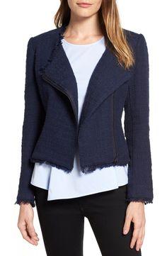 Halogen® Asymmetrical Zip Tweed Jacket (Regular & Petite)