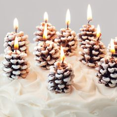 frosted pinecone candles.