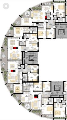 48 New Ideas Apartment Building Modern Floor Plans Architecture Drawing Plan, Classical Architecture, Architecture Colleges, Computer Architecture, Landscape Architecture, Architecture Geometric, Architecture Tools, Modern Residential Architecture, Architecture Diagrams