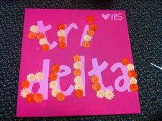 Tri Delta flower appliqué canvas