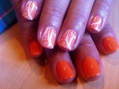 Orange base with white stamping