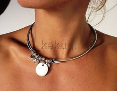 women half necklace silver and half  blue shades leather necklace with silver beads blue leather on Etsy, $36.00