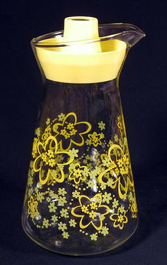 1960s 70s Vintage Pyrex Crazy Daisy Juice Carafe Pitcher w Lid Yellow Flowers | eBay