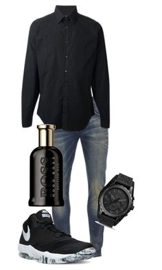 """""""Untitled #28"""" by therealexandra on Polyvore featuring Scotch & Soda, Gucci, NIKE, FOSSIL, HUGO, men's fashion and menswear"""