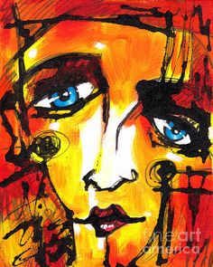 Modern mixed media giclee art print of abstract face by artist ...