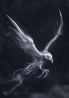 Bridget Monro Illustration: The White Raven Weird Creatures, Fantasy Creatures, Smoke Tattoo, Tattoo Ink, Arm Tattoo, Sleeve Tattoos, White Raven, Yennefer Of Vengerberg, Phoenix Art