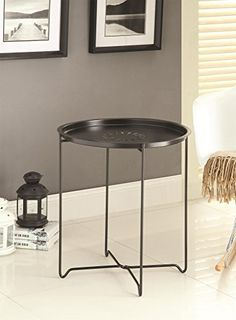 Snack Table in Black Finish with Removable Tray by Coaster Furniture