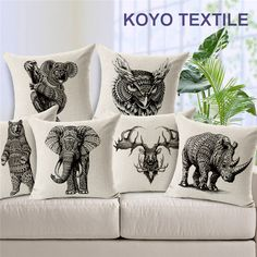 Printed Slub Linen Animal  Black Elephant Deer Rhinoceros Vintage Cheap Sofa Car Otter Cushion Cover Throw Pillow Cover case #Affiliate