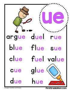Free printable vowel team charts for first grade! These colorful charts include words for students to practice reading and cover ai, ea, ie, oa, and ue words. Phonics Chart, Phonics Blends, Phonics Rules, Phonics Words, Jolly Phonics, Phonics Activities, First Grade Phonics, First Grade Reading, Phonics Reading