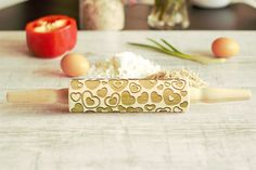 Wooden Engraved Rolling Pin Love Heart Pattern Unique Personalized