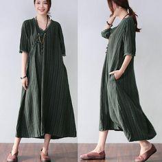 Stripe Women Loose Casual Retro Frog Splicing Linen Green Dress