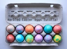 how to marbled Easter eggs-super easy, all stuff that a basic kitchen will have.