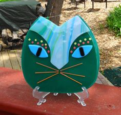 New to GlassCat on Etsy: Green Fused Glass Cat Plate Fused Glass Wall Cat African Inspired Cat Fused Glass Wall Art Fused Glass Cat (35.00 USD)