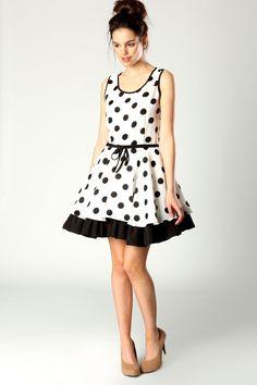 Dina Polka Dot Sleeveless Skater Dress - Boo Hoo