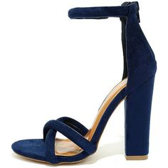 Show Biz Blue Suede Ankle Strap Heels (43 AUD) ❤ liked on Polyvore featuring shoes, pumps, heels, blue, blue shoes, blue high heel shoes, blue pumps, high heel pumps and t-strap peep-toe pumps