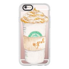 Pumpkin Spice Latte Starbucks Coffee Mug Watercolor - iPhone 7 Case,... ($40) ❤ liked on Polyvore featuring accessories, tech accessories, phone cases, phone, cases, electronics, iphone case, iphone cover case, iphone cases and iphone hard case
