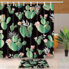 $3.79 - Cactus Black Background Bathroom Shower Curtain Waterproof Fabric W/12 Hooks #ebay #Home & Garden