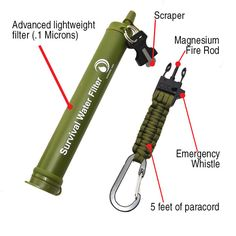 Portable Water Filter, Fire Starter, Paracord Carabiner and Bear Whistle (Green Fire Starter)