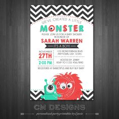 Little Monster Baby Shower Invitation  Boyish by DesignsbyCassieCM, $12.99