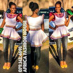Sepedi #SouthAfrica Xhosa Attire, African Attire, African Wear, African Women, African Dress, African Print Fashion, Africa Fashion, African Fashion Dresses, Fashion Prints