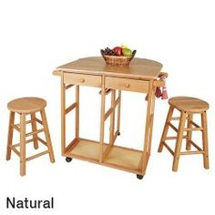 Casual Home Natural Breakfast Kitchen Cart With Drop-Leaf Table Small Kitchen Table Sets, Kitchen Dinette Sets, Kitchen Cart, Home Storage Solutions, Collections Etc, Drop Leaf Table, Furniture Decor, The Help, Table Settings