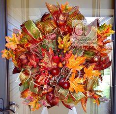Fall Leaves deco mesh Wreath by DzinerDoorz on Etsy, $110.00