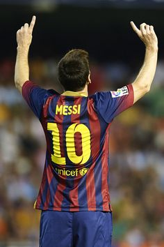Lionel Messi of Barcelona celebrates after scoring during the La Liga match between Valencia CF and FC Barcelona at Estadio Mestalla on September 1, 2013 in Valencia, Spain.