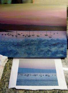 Dusk at Sandbanks. Acrylic