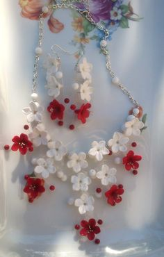 Red and white jewelry  Flower jewelry set  Polymer clay by insou, $66.00