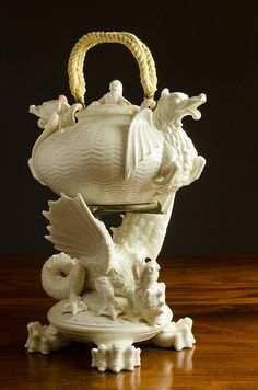 Gorgeous ~ Belleek Chinese Tea Urn & Stand ~ double spouted tea urn with dragon form masks raised on figural dragon stand with round claw footed base. Black Belleek First Mark (1863-1890) and English registry marks dating 1872.
