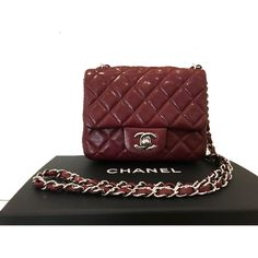 27c8a3838a95 Preloved Chanel Square Mini Burgundy Bordeaux Caviar Classic Timeless Flap  Bag Silver Hardware