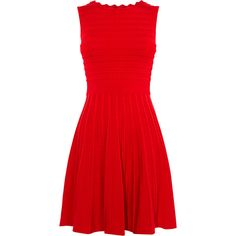 Karen Millen Scallop Knit Dress (960 PEN) ❤ liked on Polyvore featuring dresses, fit-and-flare dresses, red bandage dresses, fit flare dress, red sleeveless dress and fit and flare cocktail dress