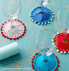 Give the wine-lover on your list a set of embroidered felt coasters that are not only fun and colorful, but are also a clever way for party guests to identify their glasses. (Designer: Elizabeth Stumbo, @Elizabeth Stumbo ) For instructions, purchase your digital issue here: http://www.zinio.com/www/browse/issue.jsp?skuId=416279179prnt=offer=categoryId=